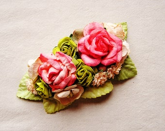 Cherry pink lime pale peach painterly mixed bunch Handmade Roses Vintage style Millinery flower corsage