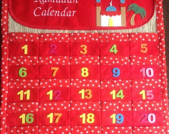 Personalised Ramadan countdown calendar ( red or blue) ( customer can choose, what to write in the top part) (first class delivery inside UK