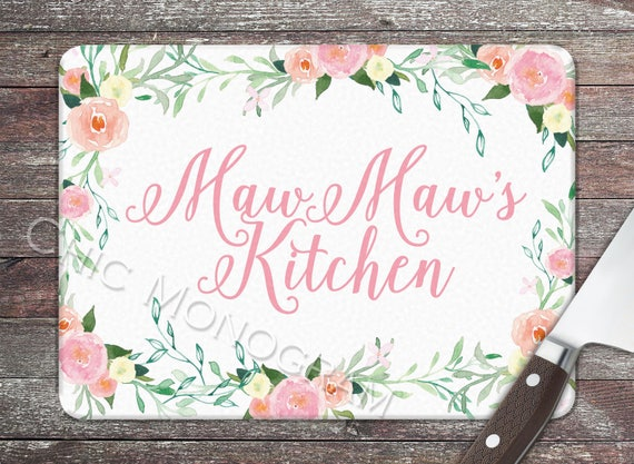 Mothers Day Gifts for Grandma Maw Maw Personalized Glass Cutting Board Monogrammed Gifts for Mom Cheese Board Grandmother Wildflowers Floral