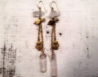 Super SALE Solid Vintage Heart Arrow Harp Charm and Natural Quarts Crystal Brass Earrings OOAK One of a Kind