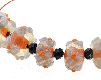 Flower Bead Issue lampwork 3mm 5Beads Lampwork beads Orange Lampwork  Flowers beads Handmade jewelry designs  European Style