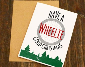 Bike Christmas Card - Blank Greeting Card - Bike Gift - Cycling Christmas Card - Cyclist - Blank - Bike Christmas -Cycling Gift