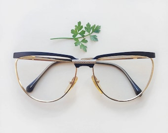 80s butterfly eyeglasses / NOS dead-stock black and gold metal frames / flat top made in Italy vintage eyeglass / urban hipster hype eyewear