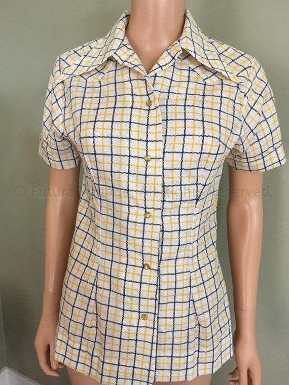 1960s 1970s TEM TEX Yellow Plaid Fitted Womens Pearl Snap Short Sleeve Western Shirt-S