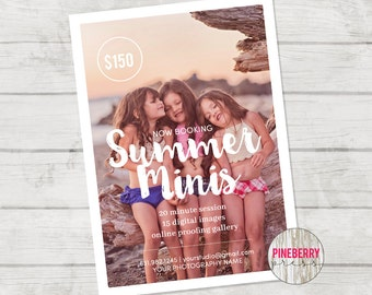 Summer Mini Session template, Beach Photography, Summer Marketing, Photoshop Template, Instant Download