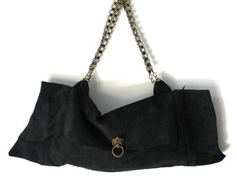 Charcoal Black Leather Lion's Head Handbag
