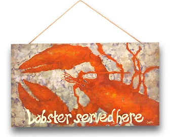 """LOBSTER Wood Sign, 8 x 14"""", FREE SHIPPING!"""