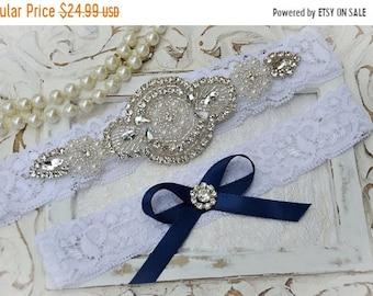 ON SALE Wedding Garter, Bridal Garter, Garter Set, Bridal Garter Set, Ivory Lace Garter, Rhinestone Crystal Garter, Blue Garter Grace Style