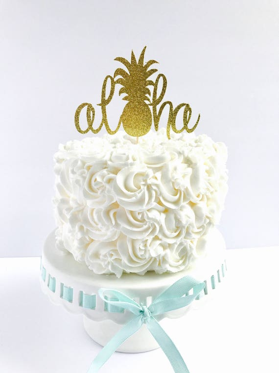 Aloha Cake Topper Tropical Party Cake Toppers Pineapple - Wedding Cake Toppers Okc