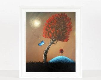 Fairytale Land - Landscape Art - Dreamy Art - Fantasy Dreamy - Archival Giclee Prints - Signed by Artist - Art - Butterfly Art - 8x10