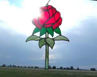 Stained Glass Rose Sun Catcher