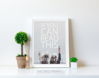 Friendship Travel Digital Print, If You Can Read This, Our Journey, Printable Travel Typography, Adventure Poster, Travel Gift Idea