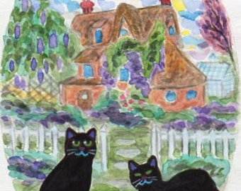 ORIGINAL PAINTING, 2 Black Cats with Violas and Wisteria on their Cottage, by DM Laughlin