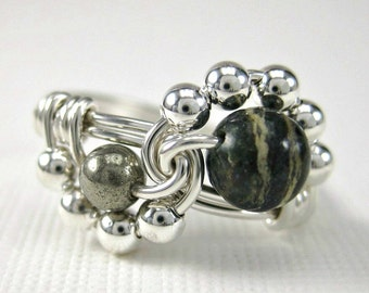 Wire Wrapped Ring Sterling Silver, Zebra Jasper and Pyrite Binary