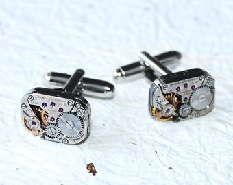 GIRARD PERREGAUX Steampunk Watch Cufflinks - RARE Luxury Swiss Silver Vintage Watch Movement Men Steampunk Cufflinks Cuff Links Wedding Gift