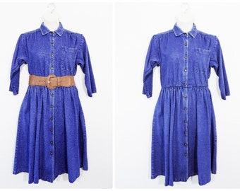 Plus Size Vintage Dark Denim Button Front Dress