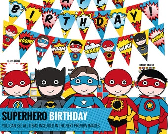 Superhero Birthday Decorations Package. Printable Comic Book Kids Birthday Party Decor. Funny Neutral First Birthday. Digital Download