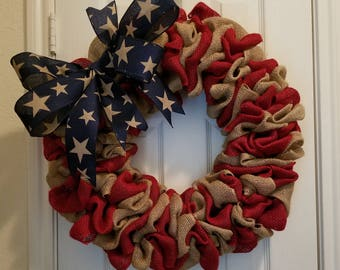 """22"""" Patriotic Wreath/ July 4th/ Independence Day/ Red, White & Blue Burlap Wreath"""