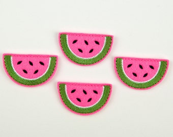 WATERMELON SLICE - Embroidered Felt Embellishments / Appliques - Hot Pink  (Qnty of 4) SCF7060