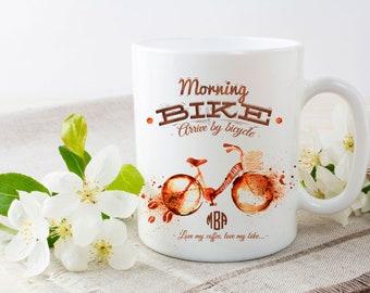 Personalized Mug, 11 oz ceramic mug, monogrammed mug, bike themed coffee mug, biker and coffee lover, 13