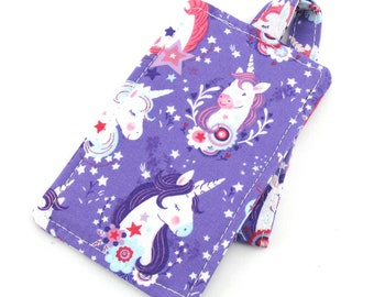 Purple Unicorn Heads Kids Girls Luggage Tag Bag Tag Travel Accessories, Gift for Traveler, Fun Gift