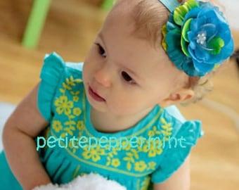 Baby Headband, Baby Flower Headband, toddler headband - Pretty Turquoise