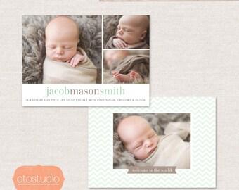 Birth Announcement Template Photo - Simple Chevron CB051 - PSD Flat Card