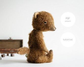 PDF Sewing Pattern & Tutorial Stuffed Fox 8 Inches Mohair Fox Pattern Stuffed Animal Pattern Artist Teddy Bear Pattern For Women Soft Toys