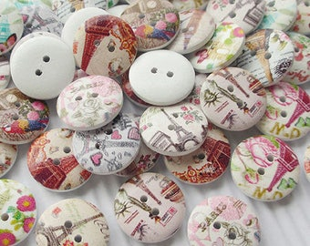 8 buttons round 20 mm painted wood pattern Paris