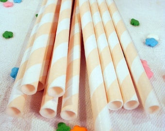 25 Vanilla Ivory Striped Paper Straws