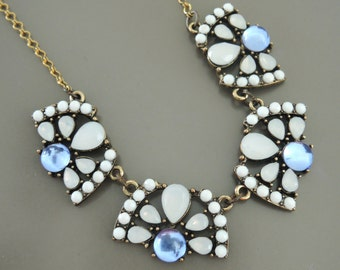 Vintage Inspired Earrings - Art Deco Necklace - White Necklace - Blue Rhinestone Necklace - One of a Kind -Handmade Jewelry