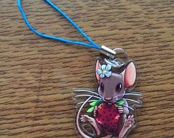 """1.25"""" Acrylic Mouse and Strawberry Charm"""