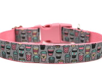 "Coffee Dog Collar 3/4"" or 1"" Coffee Lover Dog Collar Fun Dog Collar"