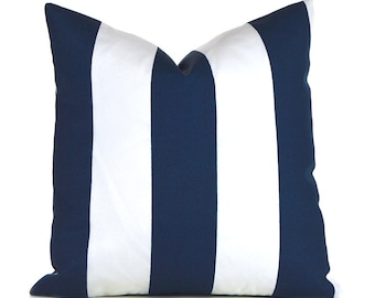 Outdoor Pillows Outdoor Pillow Covers Decorative Pillows ANY SIZE Pillow Cover Premier Prints Vertical Outdoor Navy and White