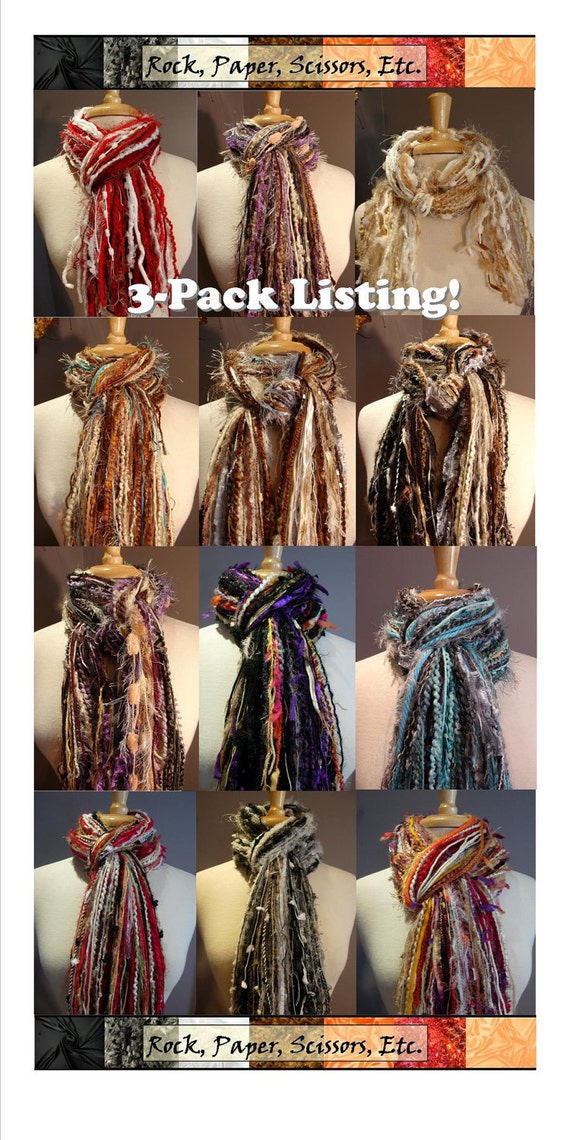 Fringie-3-Pack Large Fringies - All Fringe Scarf - You Pick 3 Multi-texture hand tied fringe scarves Discounted!