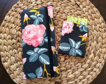 Floral Travel Wallet Set for Passport and Boarding Passes Plus Birth Control Case, International Passport Holder, Roses Travel Accessory