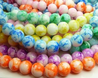 Mixed Color Round Glass Beads - 12mm Smooth Mottled Bohemian Beads - 18pcs - BN23