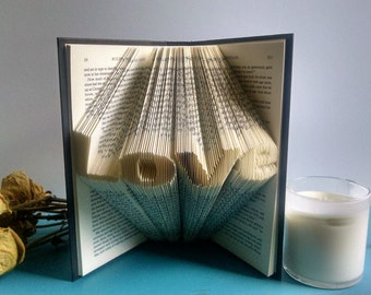 "Decorative Book Featuring the Word ""Love"" - Folded Book Art Gifts for the Book Lover"