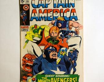 Captain America No.116 Marvel Comics Book (VG/F) Aug 1969,Vintage Captain America Comic(s) Book(s), b1