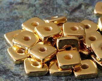 Mykonos 8mm Gold Washers - 24K Gold Mykonos Ceramic Beads - 8mm Square Washer Beads - Jewelry Making Supply -