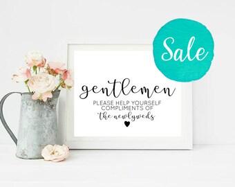 Wedding Bathroom Sign Printable, Gents Bathroom Printable, Wedding Restroom sign, Bathroom Basket Sign, Help Yourself Sign, Gentlemen sign