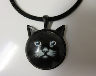 FREE SHIPPING! Black Cat Face and Ears Necklace-Cat Necklace