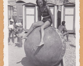 Beach Ball Beauty - Vintage Photograph