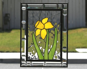 SPRING DAFFODIL -  Large Contemporary Stained Glass Window Panel, Yellow, Green, Daffodil, Clear Bevels