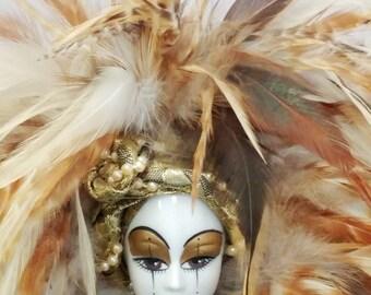 Vintage porcelain Harlequin jester carnival doll feather hat