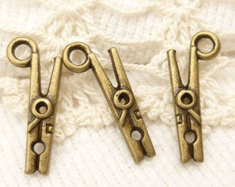 Mini 3D Clothespin Charms, Antique Bronze (8) - A90