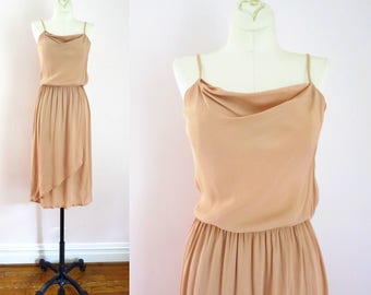 Vintage Tan Dress | 1980s Tan Crepe Faux Wrap Skirt Dress XS