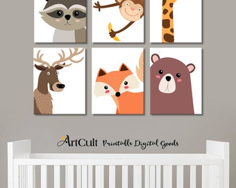 Printable digital artworks, 6 CUTE WOODLAND CREATURES baby animals instant download print-it-yourself art for Nursery decoration by ArtCult