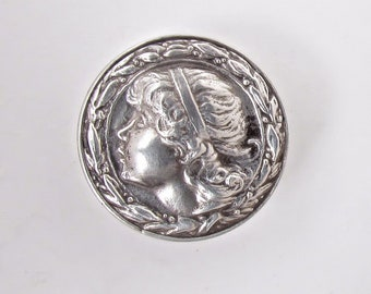 Sterling Silver Vintage Button, Head Profile of a Young Girl Inside a Border of Leaves and Berries, Jewelry Makers Mark and Sterling Stamp