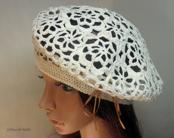 Irish Lace Crochet Women Ladies girls Vintage Style Cloche Rasta Snood Tam Beach Cotton Beret Hat Ivory Spring Summer Fashion